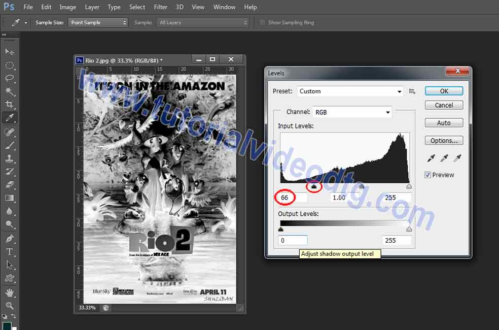 setting level photoshop pisah warna kaos hitam