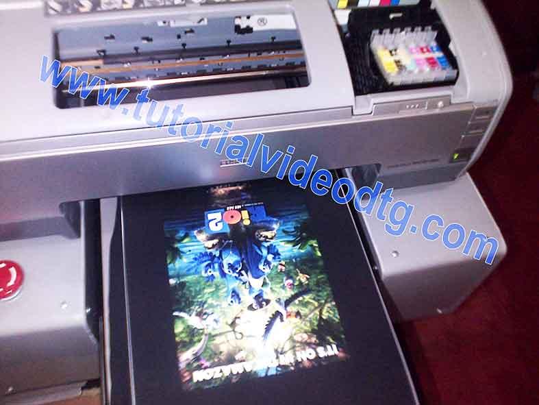 print kaos hitam pada printer dtg