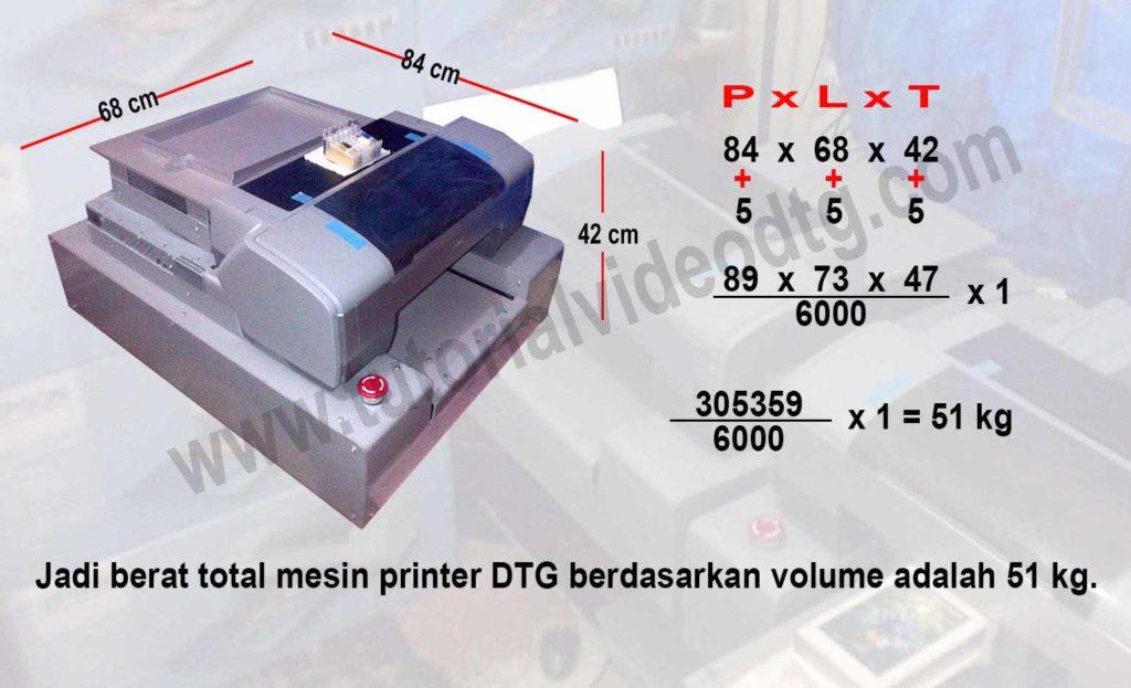 perhitungan volume barang mesin printer DTG
